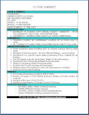 FRESH JOBS AND FREE RESUME SAMPLES FOR JOBS: CV for Chemist