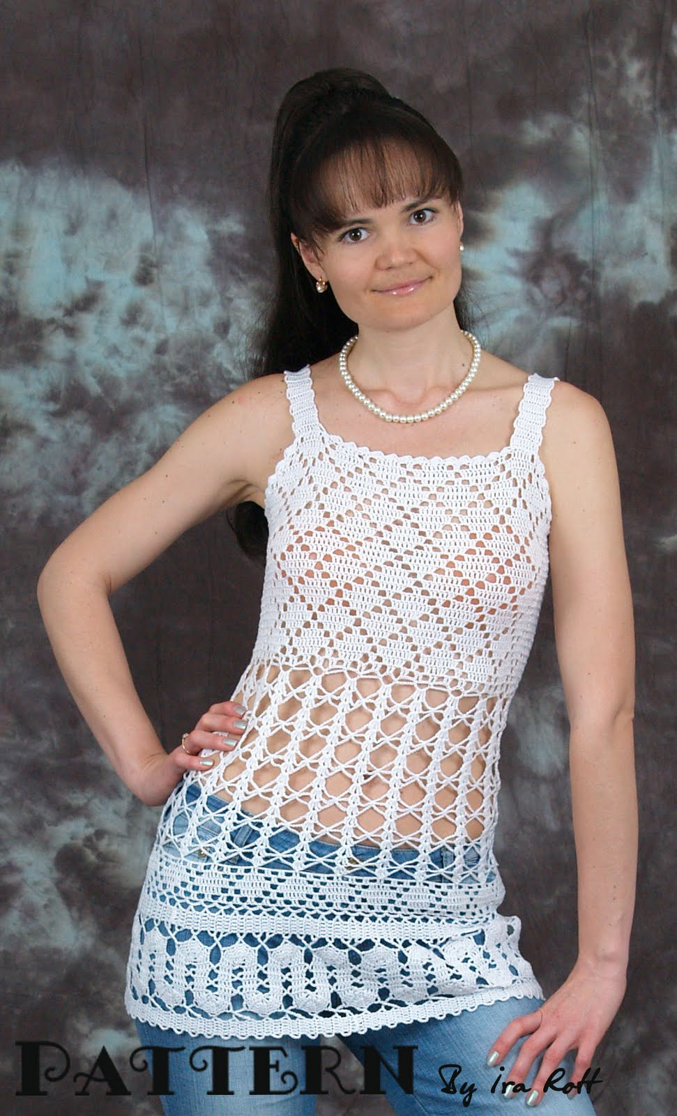 Crochet Top Pattern : Crochet Design By Ira Rott: Bruges Lace Crochet Top - PDF Pattern ...
