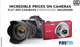 Cameras Upto 39% off + Extra 20% Cashback – PayTM