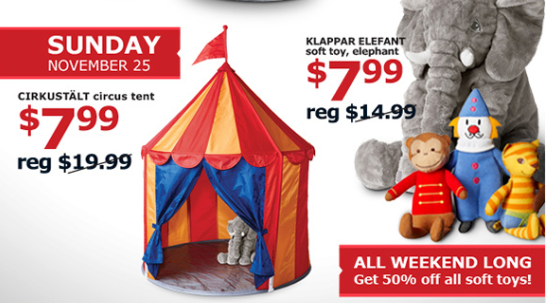 My kids love playing in any tent like contraption. They make tents out of the couch cushions and blankets at least once a week. The circus tent at over 3 ...  sc 1 st  Montebello Mom & Montebello Mom: IKEA: Black Friday Weekend Toys 50% off!