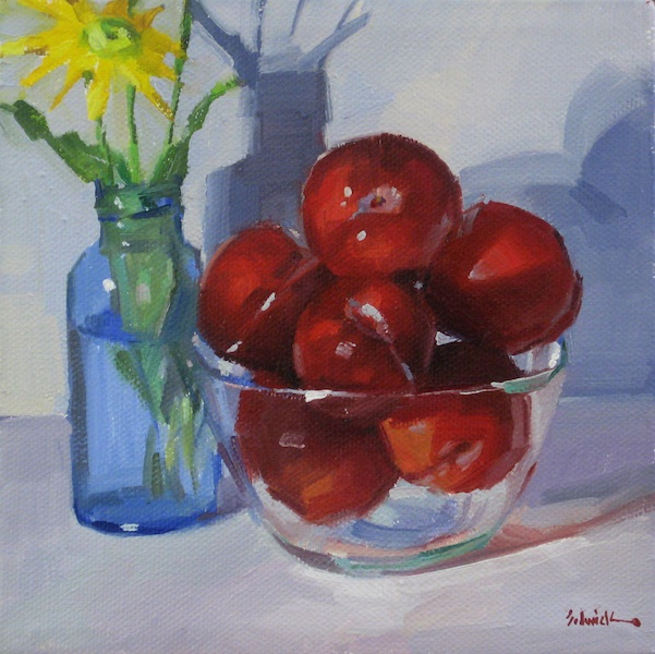 "Sedwick Studio Purple Bowl Of Plums Fruit Bowl Still: Sedwick Studio: ""Red Plum Bowl"" Fruit Floral Flower"