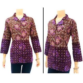 DBT2562 - Baju Bluse Batik Wanita Terbaru 2013
