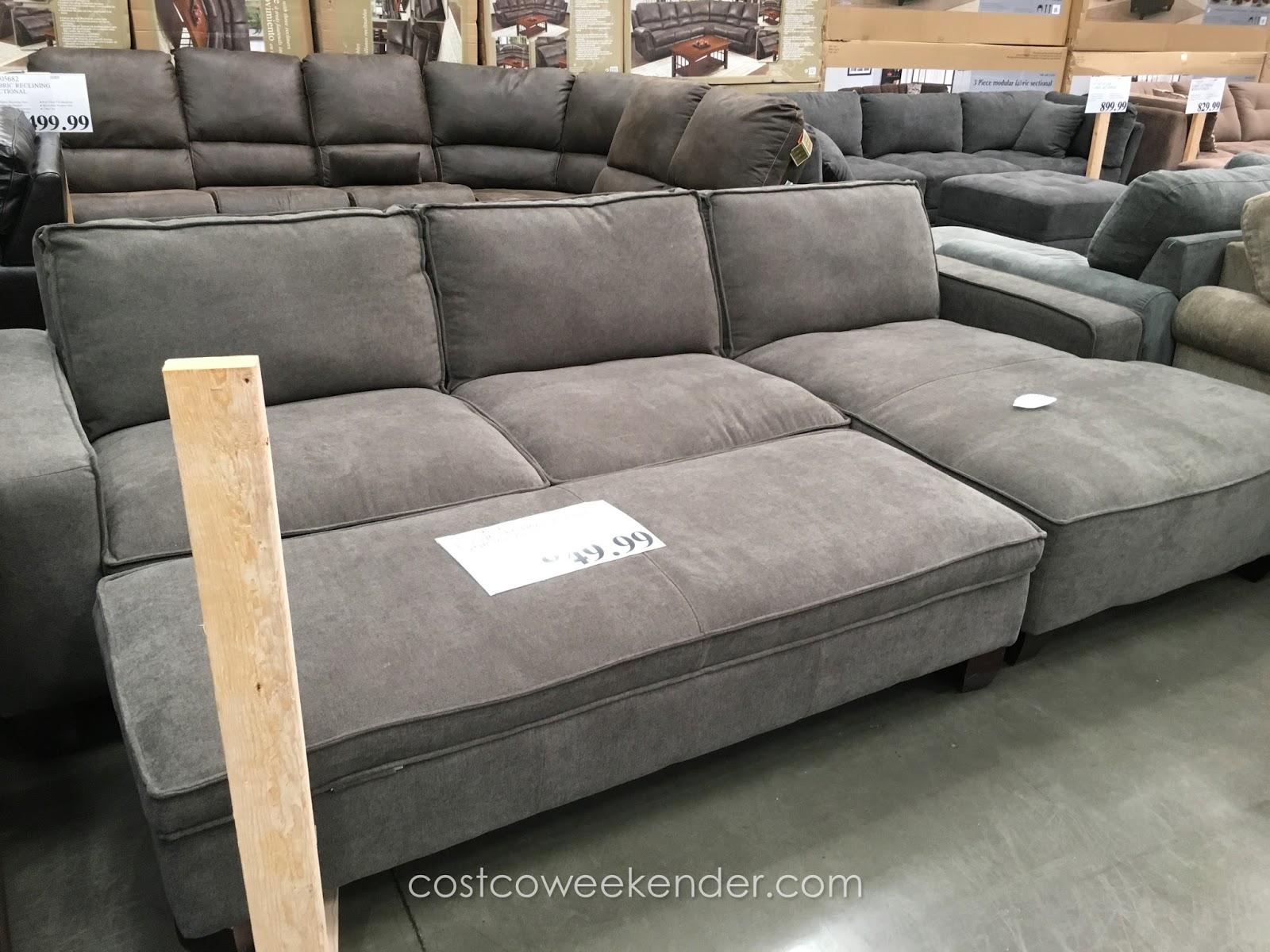 Chaise sectional sofa with storage ottoman costco weekender for Chaise lounge costco