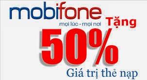 Khuyến mại 50% giá trị thẻ nạp cho thuê bao trả trước Mobifone