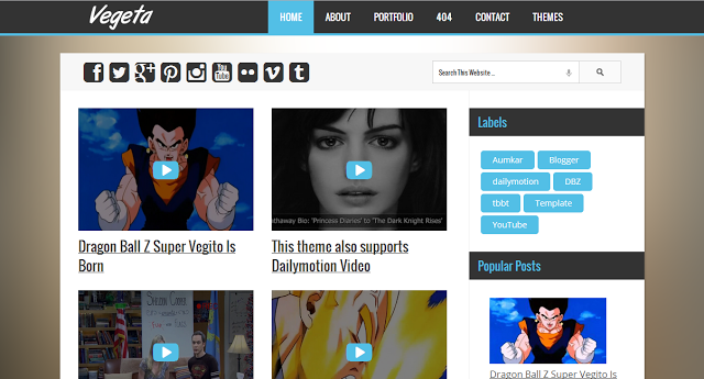 Vegeta Premium Video Blogger Template