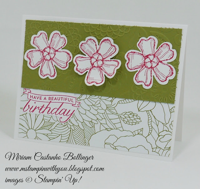 Miriam Castanho Bollinger, #mstampinwithyou, stampin up, demosntrator, sssc, birthday card, birthday blossoms stamp set, lovely lace tief, texture boutique machine, pansy punch, su
