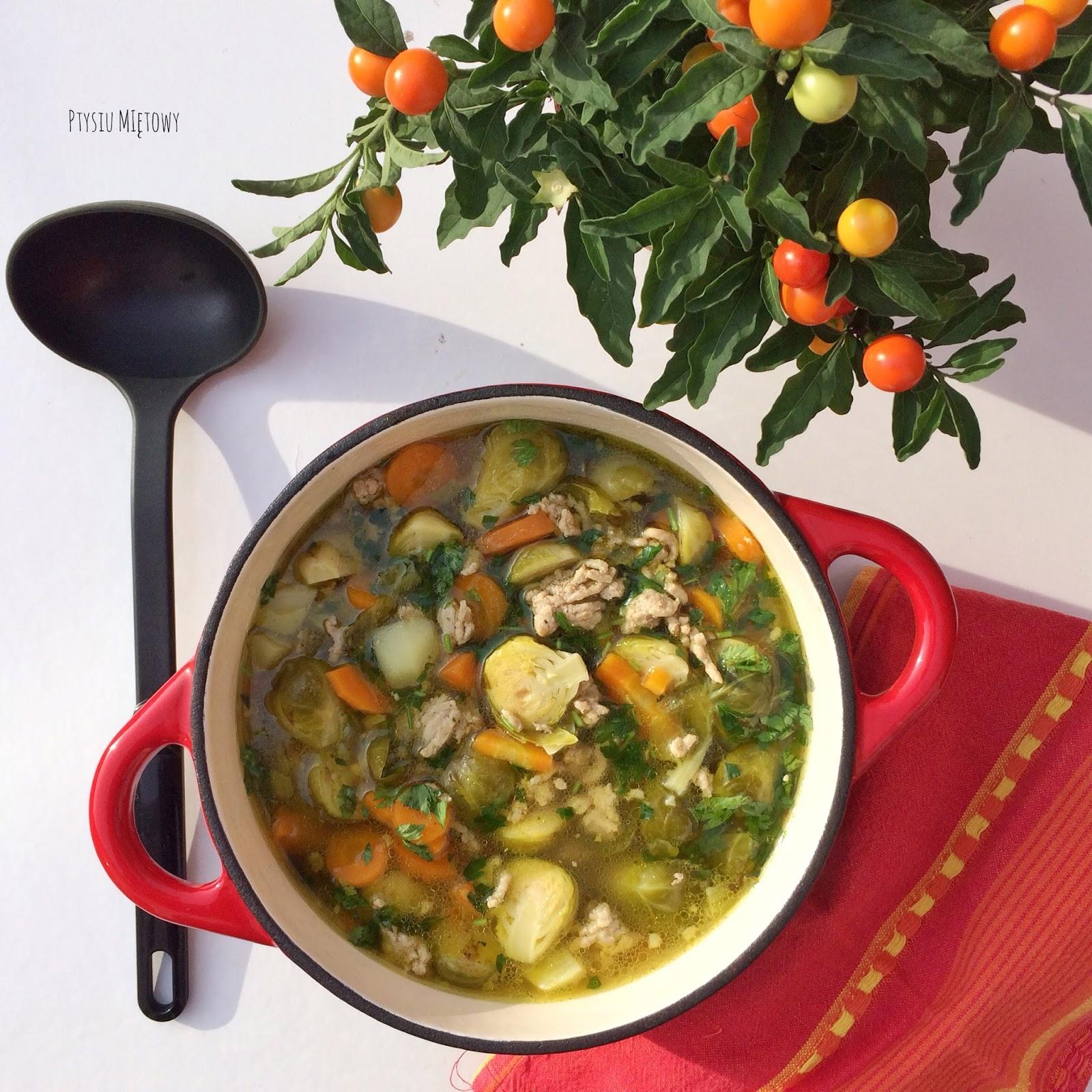 zupa z brukselka, ptysiu mietowy
