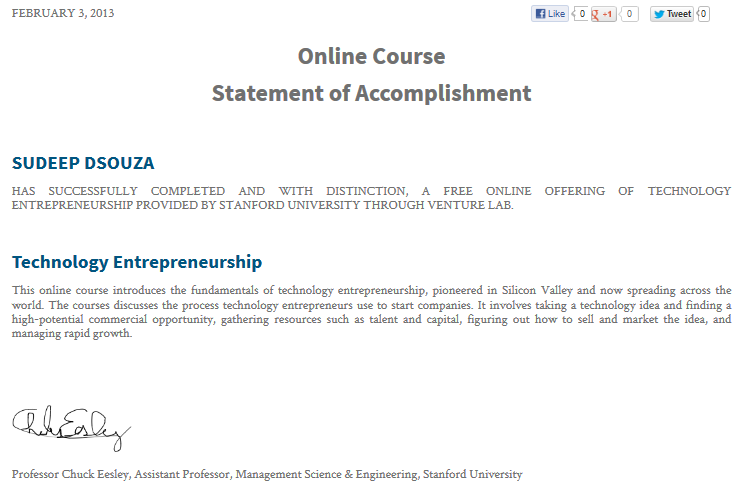 Sudeep dsouza february 2013 this is the certificate i got for successfully completing the technology entrepreneurship course on venture lab yadclub Images