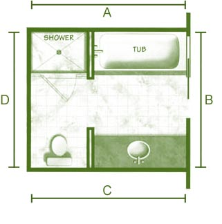 Bathroom floor plan separate toilet home decorating for Small 3 4 bathroom floor plans