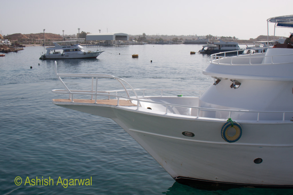 Front portion of a neighboring yacht along with others off the coast of Sharm el Sheikh in Egypt