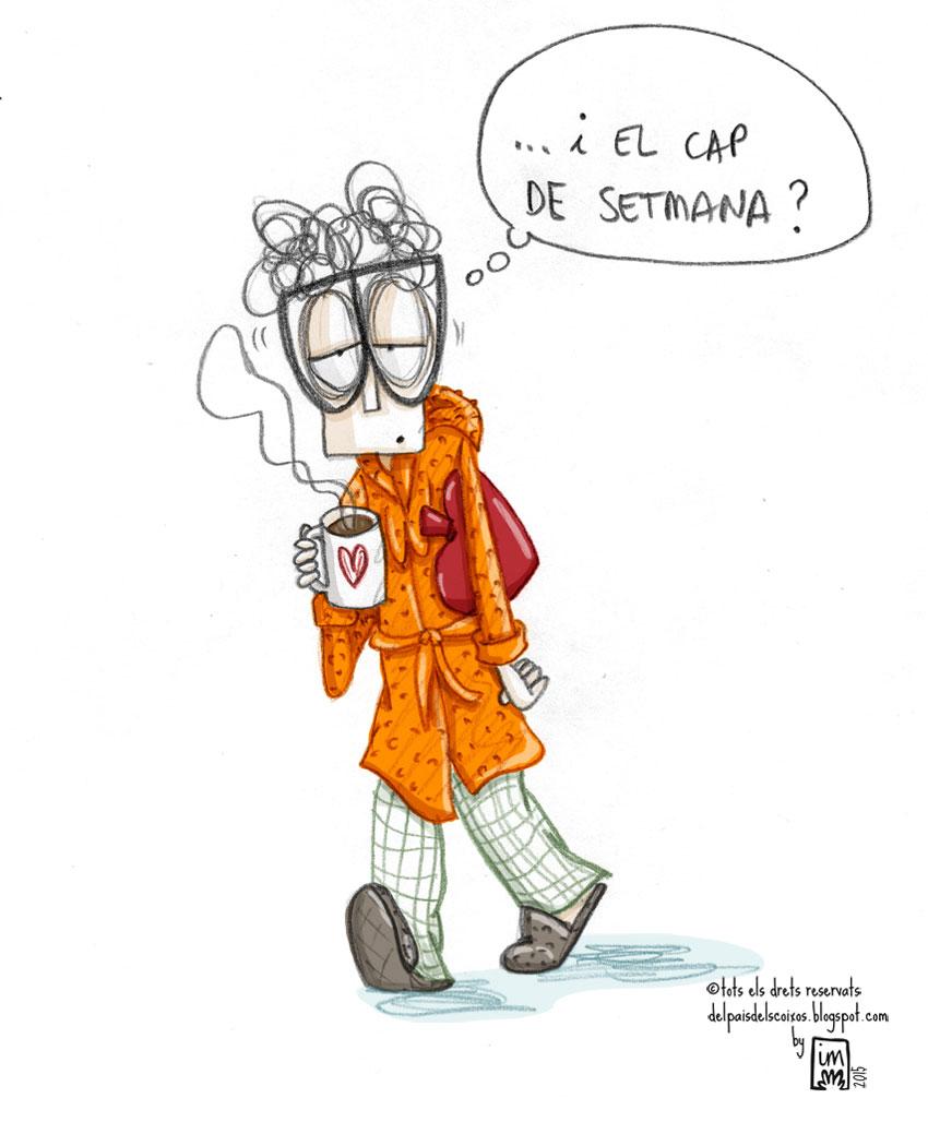 Els dilluns i el ràpid que passen els caps de setmana: Il·lustració pel webcòmic Del país dels coixos. ©Imma Mestre Cunillera