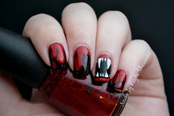 Nails by kayla shevonne halloween nail art vampire fangs for the fanged accent nail i started with a base of illamasqua throb and then i filled in the entire midsection with wet n wild black creme prinsesfo Choice Image