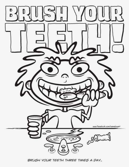 brush your teeth cartoon coloring page by Lou Simeone