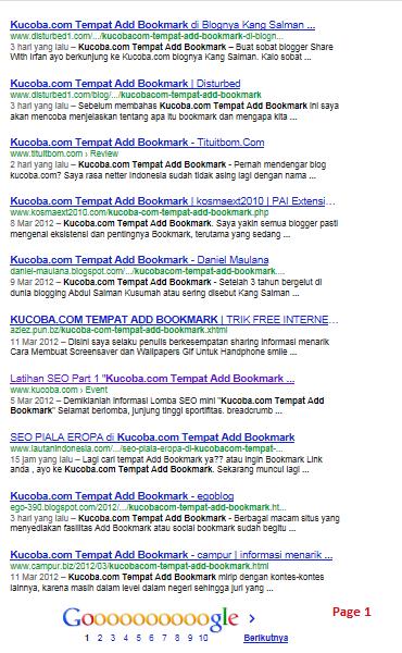 """Daftar Peserta Lomba """"Kucoba.com Tempat Add Bookmark"""""""