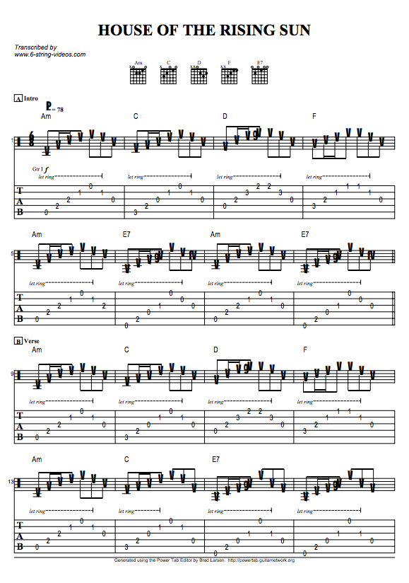 Guitar Tabs Tab Sheets For House Of The Rising Sun,Mens Valentines Gifts