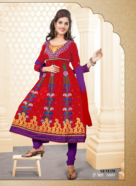 New Embroidery Designer Cotton Anarkali Suit