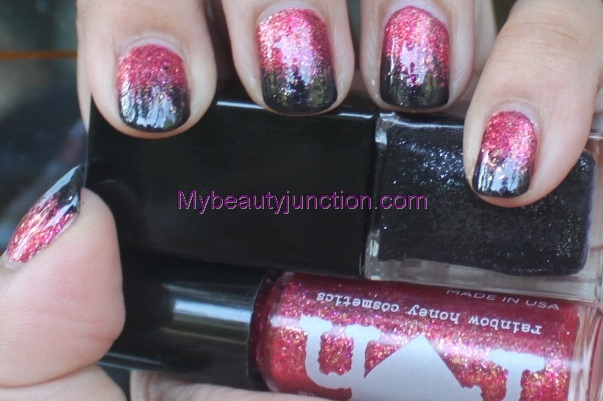 Autumn nail art challenge: Red and black manicure