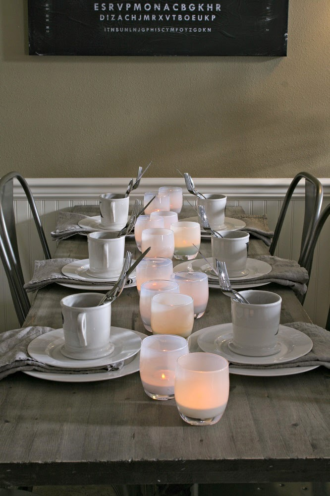Glassybaby, Bone White China, Wedgwood Bone White, Simple and Clean Tablescape