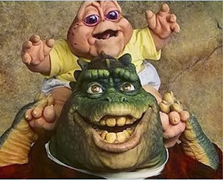 Baby e Dino da série 'A Família Dinossauro' - Anos 90