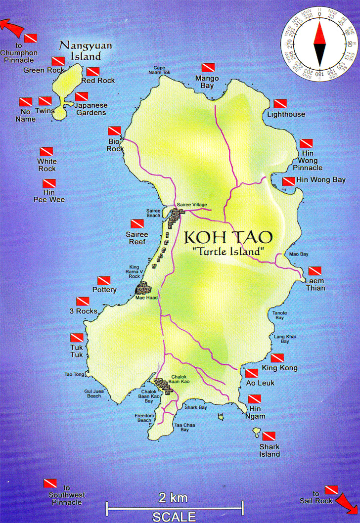 Dive charmchureevilla dive sites around koh tao - Koh tao dive sites ...