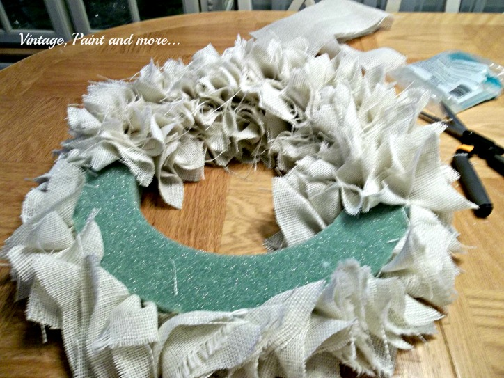 Vintage, Paint and more.. adding burlap squares to a styrofoam wreath form