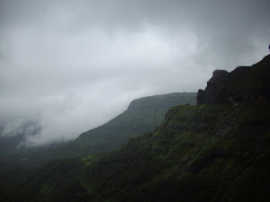 Misty hills of Malshej Ghat.