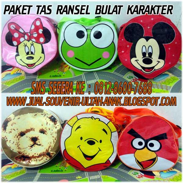 Souvenir+Ultah+Anak+Murah+Tas ransel+Bulat Karakter Cartoon Mickey Pooh Angry+Bird Bear Souvenir Ulang Tahun (Ultah) Anak Anda