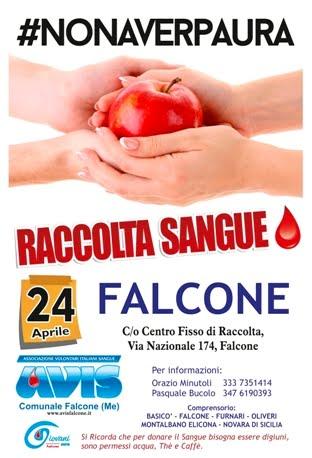 RACCOLTA SANGUE A FALCONE IL 24 APRILE AL CENTRO FISSO DI RACCOLTA IN VIA NAZIONALE, 174