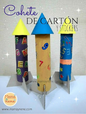COHETE-CARTON-STICKERS-CRAFT-ROCKET-MAMAYNENE-NIÑOS