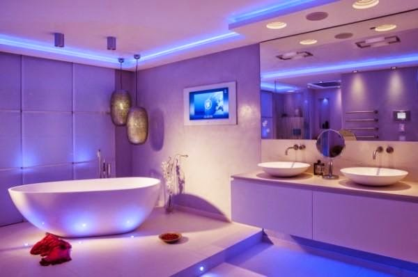 led bathroom lights in blue color - Designer Bathroom Lights