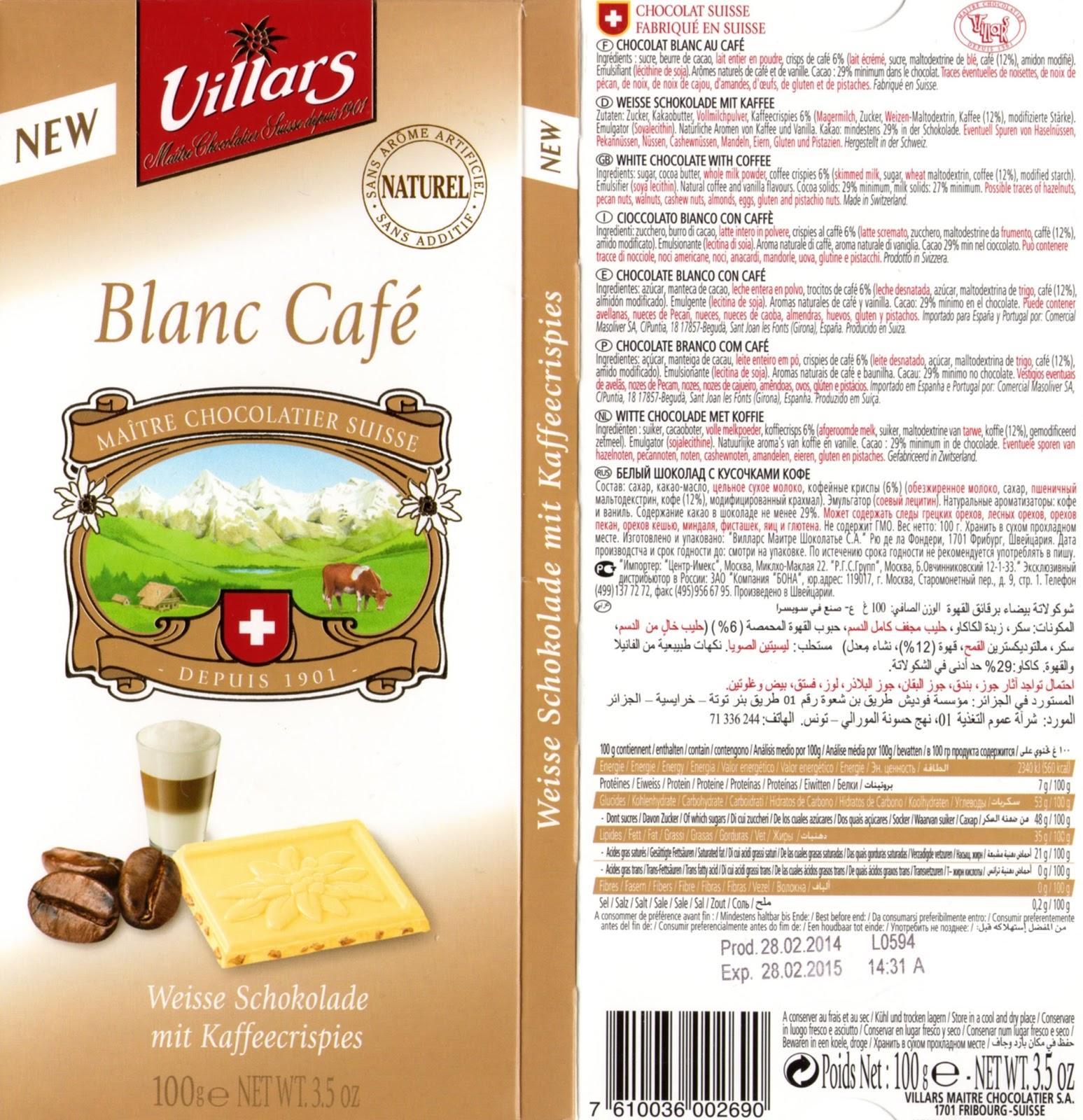 tablette de chocolat blanc gourmand villars blanc café