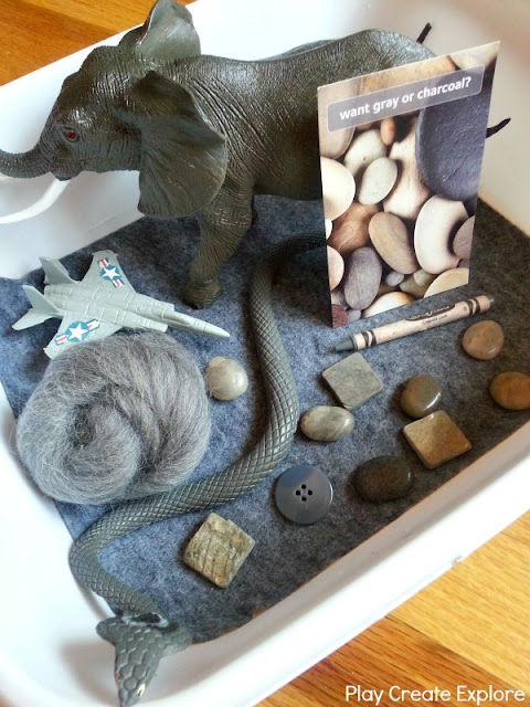 Gray Objects Sensory Exploration Bin