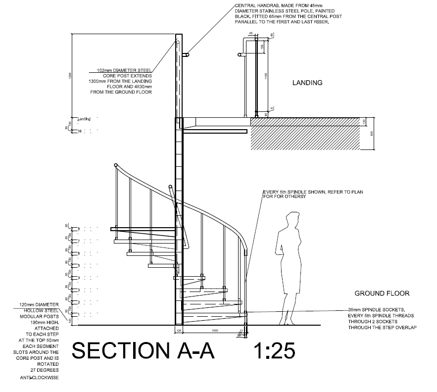 Innovation style and progress detail drawing final plot for Spiral stair details