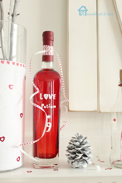 red bottles of love potion number 9 to decorate during Valentines