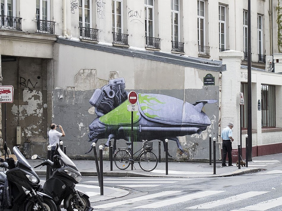 In between working hard at his studio, creating work for his big London solo show, Ludo still makes sure he is putting up new pasters around his hometown. Last weekend, while most of Paris was a sleep, he went out to put up these two large pieces.