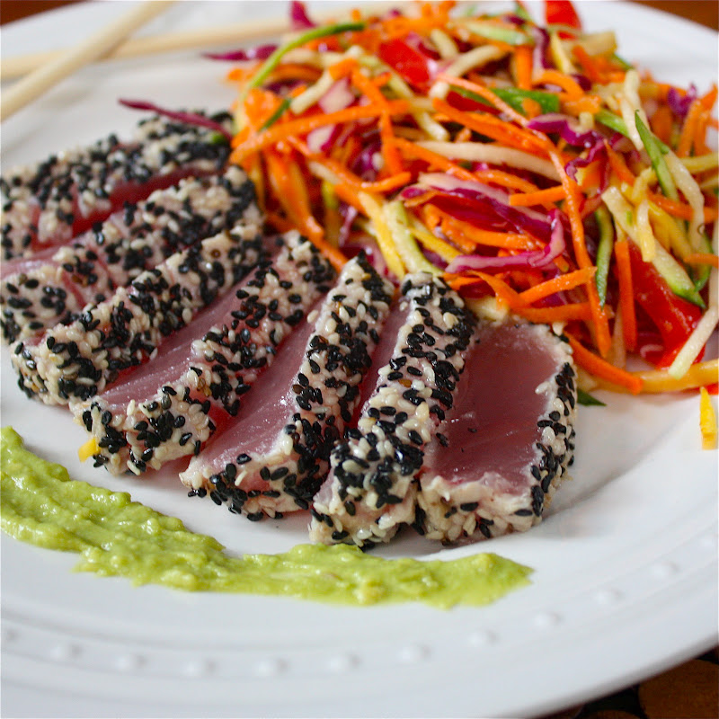 Sesame Crusted Tuna with Avocado-Wasabi Sauce - Get Off Your Tush and ...