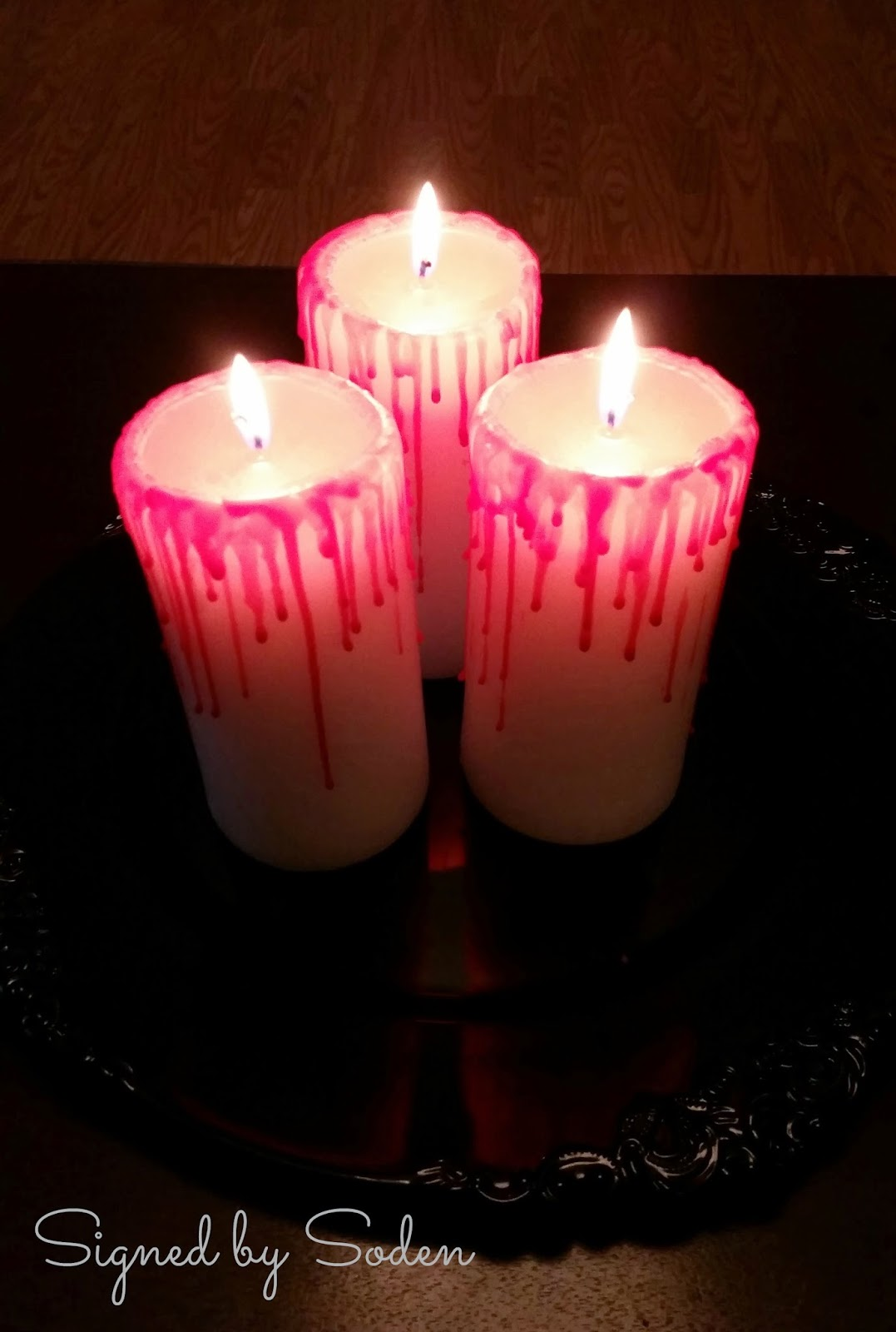 Halloween blood drip candle decoration