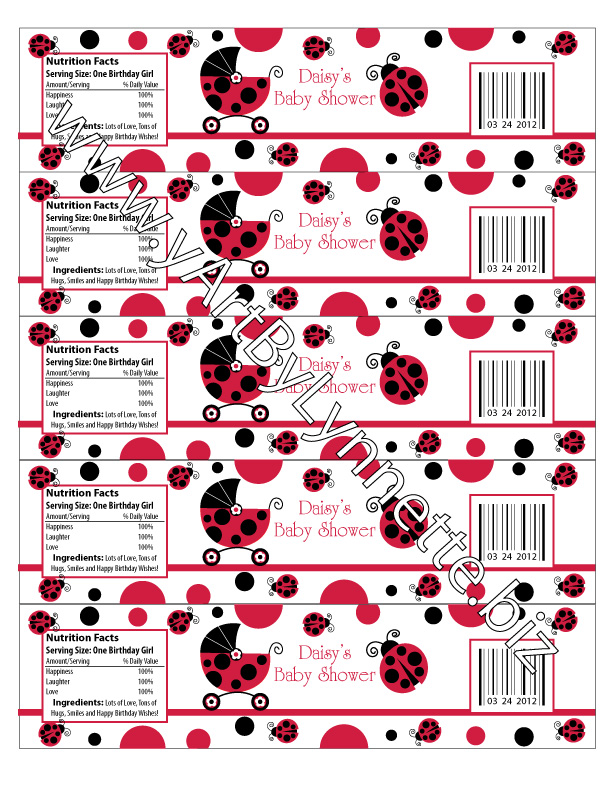 LynnetteArt: Red Ladybug baby shower invitation