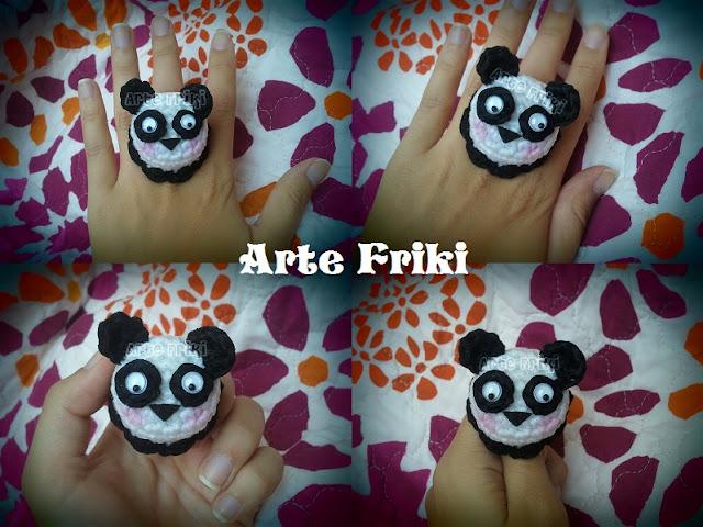 oso panda bear amigurumi crochet ganchillo anillo ring