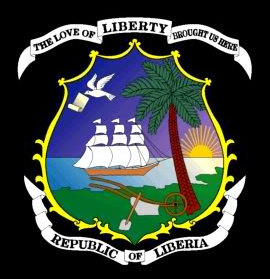 """The love of liberty brought us here"" (""El amor a la libertad nos trajo aquí""), sello nacional de la República de Liberia."