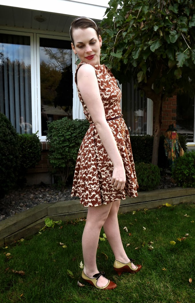 Modcloth dress, modcloth.com, Luck Be a Lady in Equine dress, horse print dress, equestrian style, brown dress, vintage bangle, cuff, celluloid, fit and flare, Poetic License shoes, booties, tease, A Coin For the Well, Suzanne Amlin, Windsor Ontario fashion blog, style blogger