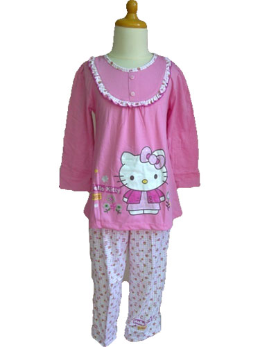 Baju Anak Perempuan Motif Hello Kity Bunga Linn Collection