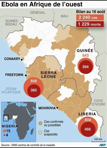 Carte des pays d'Afrique de l'Ouest touchés par l'épidémie d'Ebola : nombre de cas détectés et de personnes décédées, selon le dernier bilan de l'OMS, en date du 16 août 2014 (AFP)