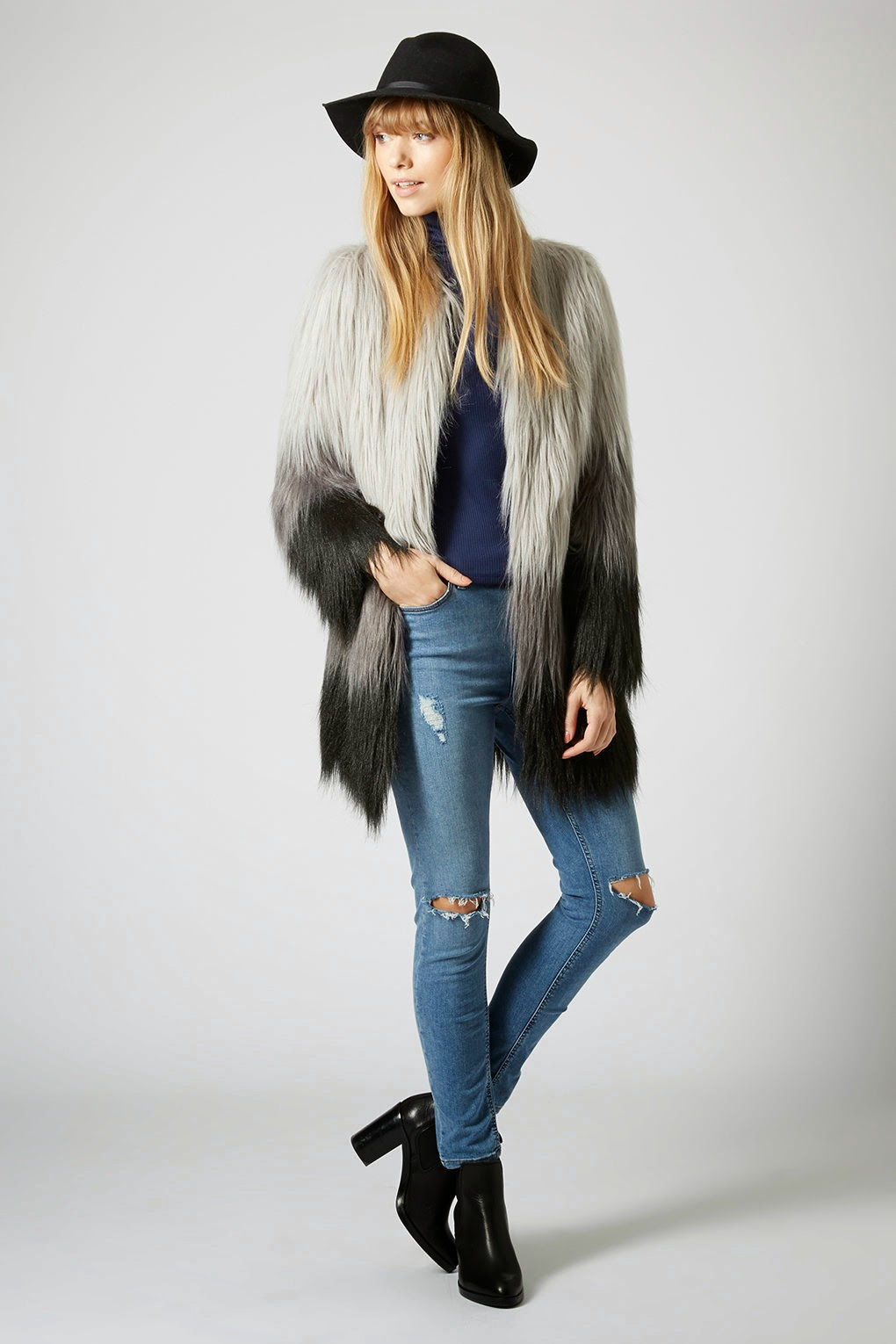 grey furry coat