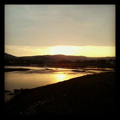 sunset over river - Elmira, NY - November 2012