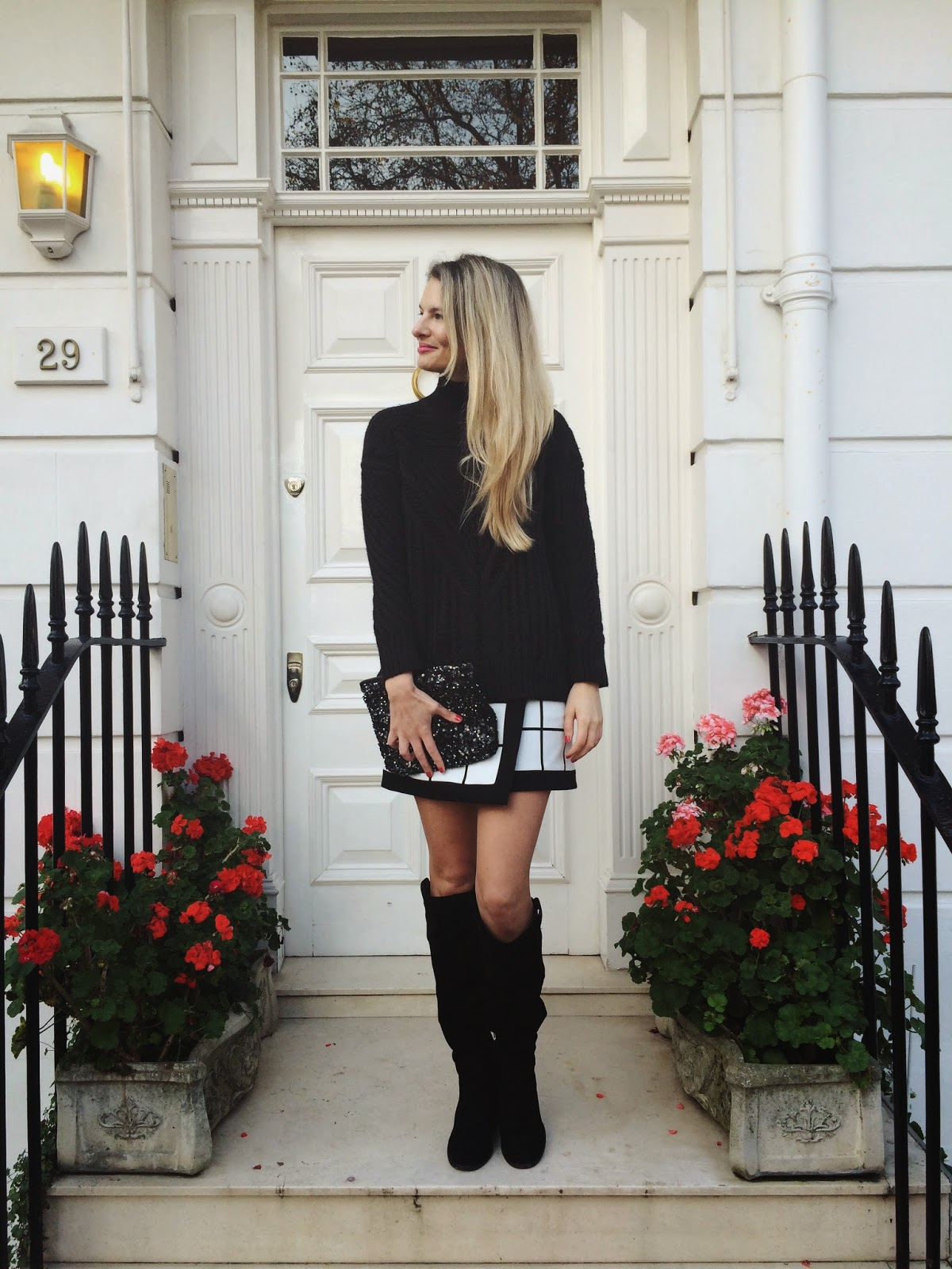 Karen millen wrap skirt, street style, london blogger, london street style, window pane print, over the knee boots, asos cable knit jumper, sequin clutch