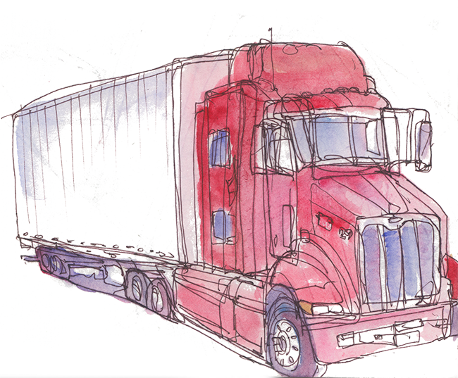 "shiho nakaza watercolor sketch truck ""Los Angeles"""