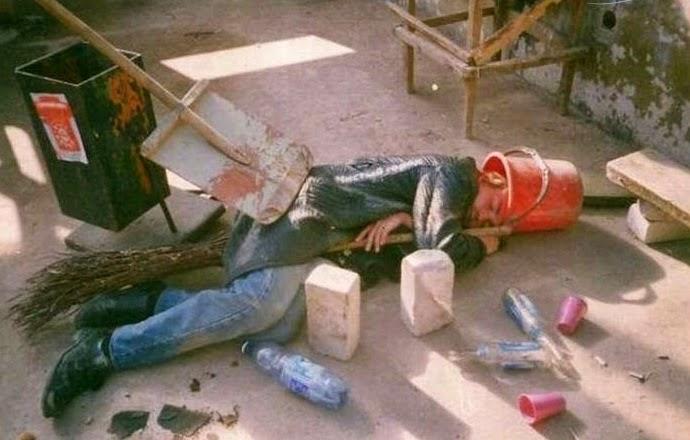 smešna slika: pijan radnik