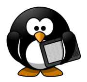penguin holding ebook reader