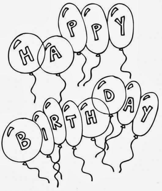 Dibujo de Happy Birthday en forma de Globos para Colorear - Dibujo Views